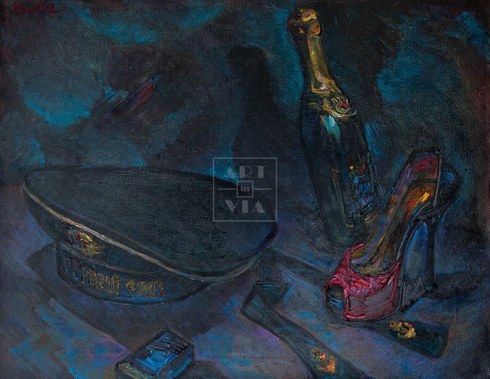 Картина. Натюрморт с бескозыркой военно-морского флота