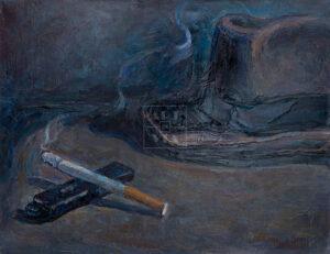 Картина. Натюрморт с сигаретой и зажигалкой