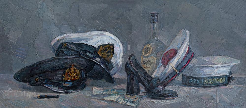 Картина. Натюрморт с фуражками и черной туфелькой