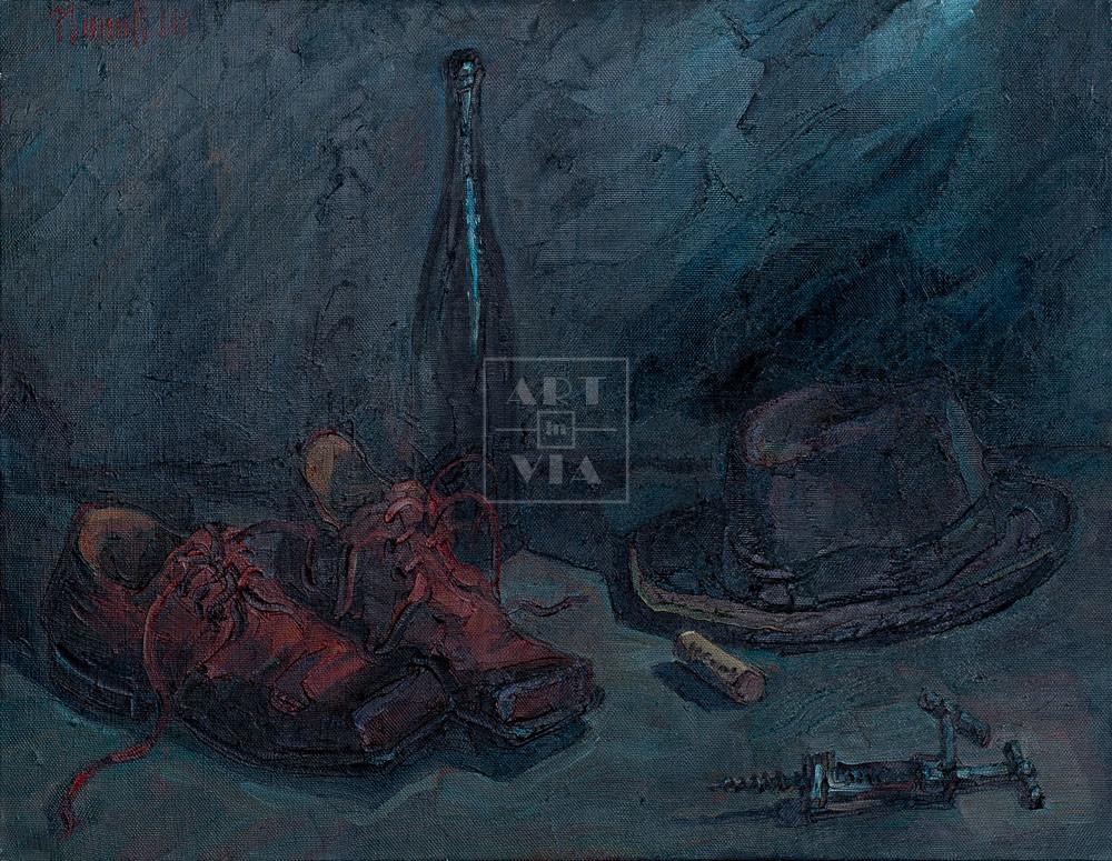 Картина. Натюрморт с красными ботинками