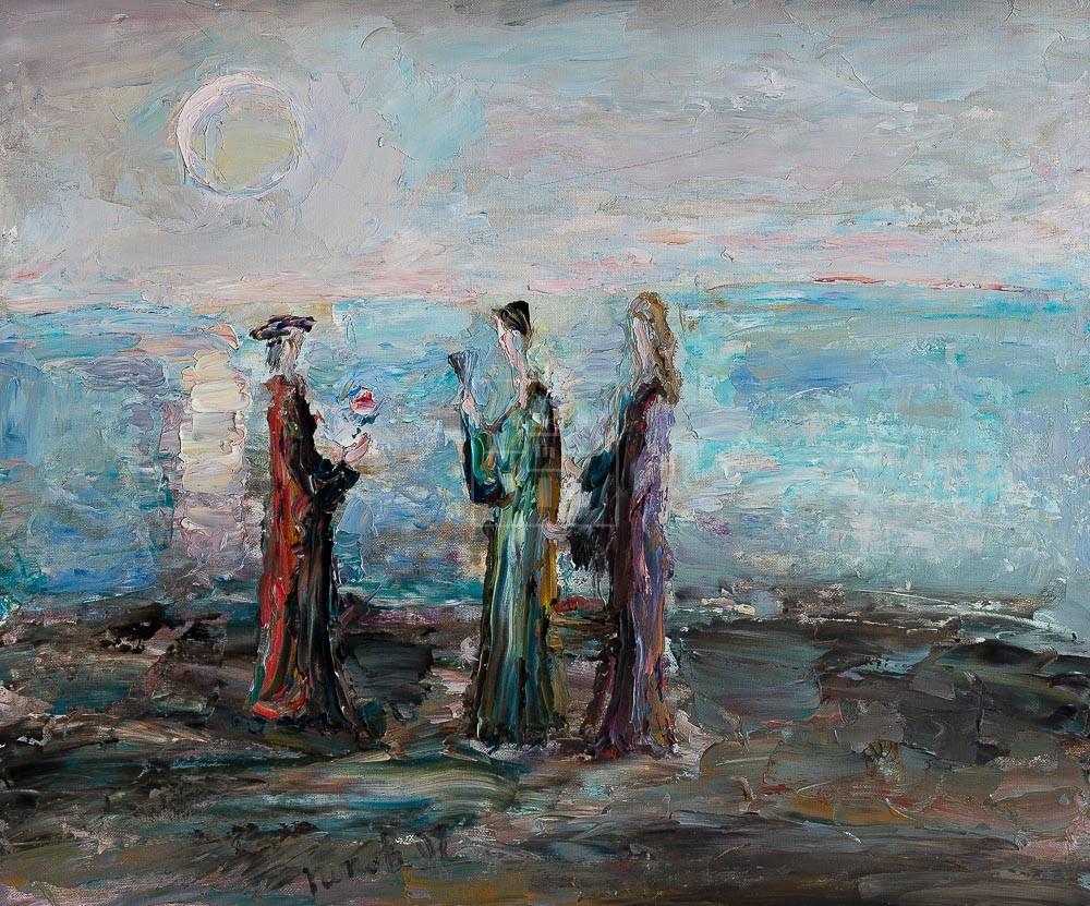 Картина. Интересный сюжет. Три фигуры у моря