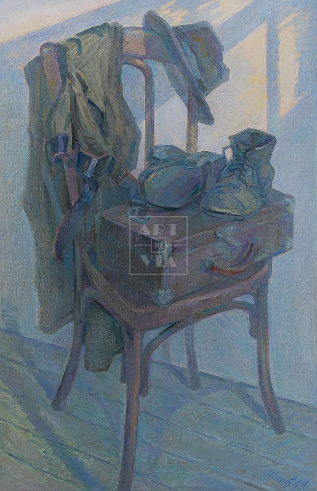 Картина. Натюрморт с ботинками и чемоданчиком