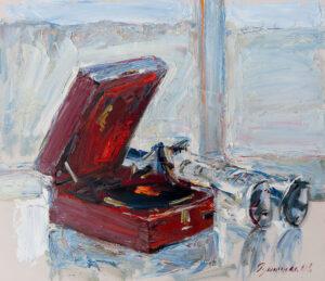 Картина. Натюрморт с патефоном и трубами