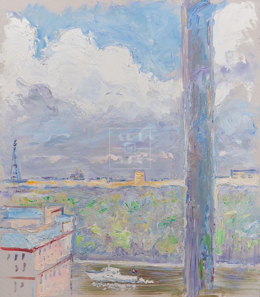 Картина. Москва. Пейзаж. Вид из окна