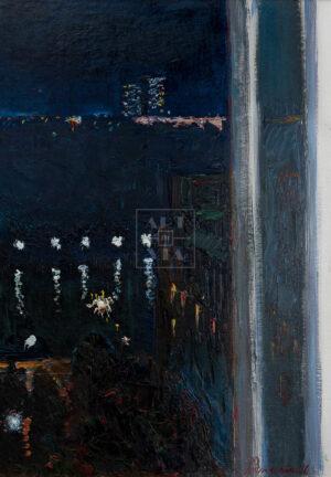 Картина. Пейзаж. Вид на Москву-реку ночью