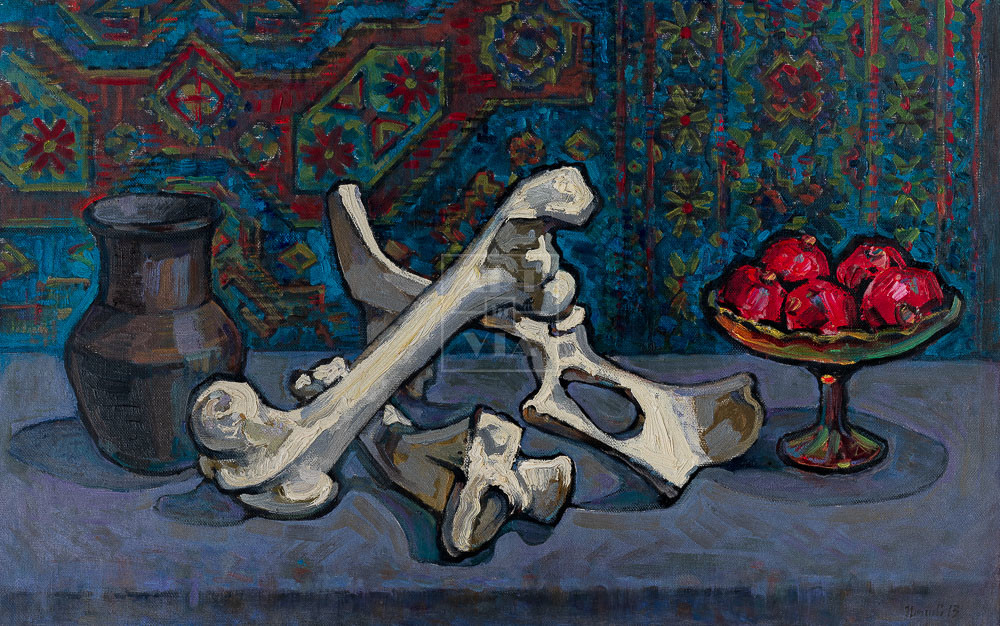 Картина. Натюрморт. Кринка и кости