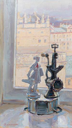 Картина. № 3. Натюрморт со статуэткой и мясорубкой