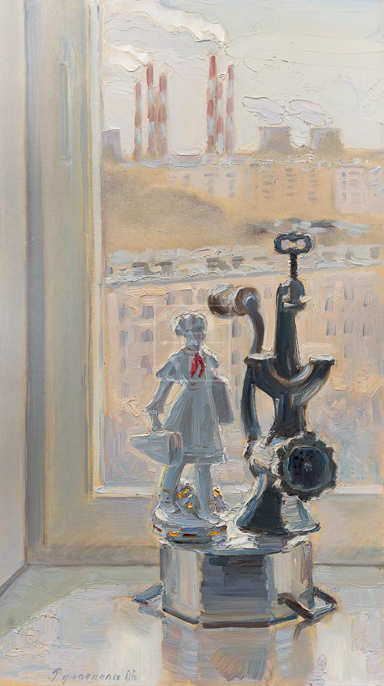 Картина. № 6. Натюрморт со статуэткой и мясорубкой
