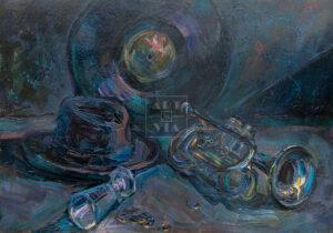 Картина. Натюрморт с трубой и рюмкой