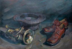 Картина. Натюрморт с ботинками и трубой