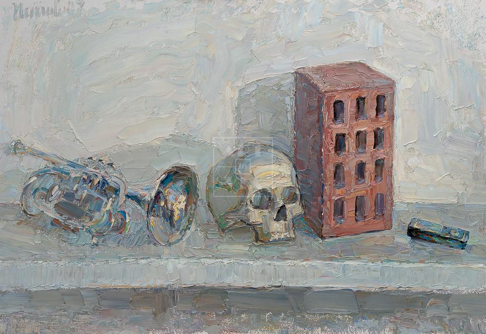 Картина. Натюрморт с черепом и трубой