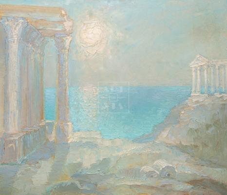 Картина. Пейзаж. Колоннада на берегу моря