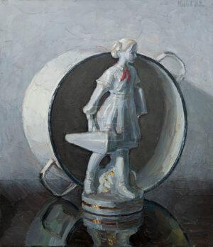 Картина. Натюрморт со статуэткой пионерки и кастрюлей