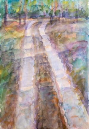 Картина. Пейзаж. Дорога вдоль реки
