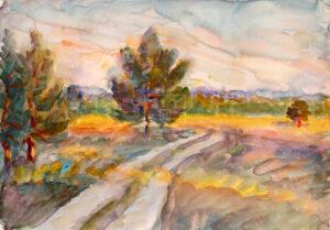 Картина. Пейзаж. Дорога через поле