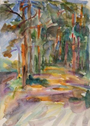 Картина. Пейзаж. Дорога вдоль берега реки