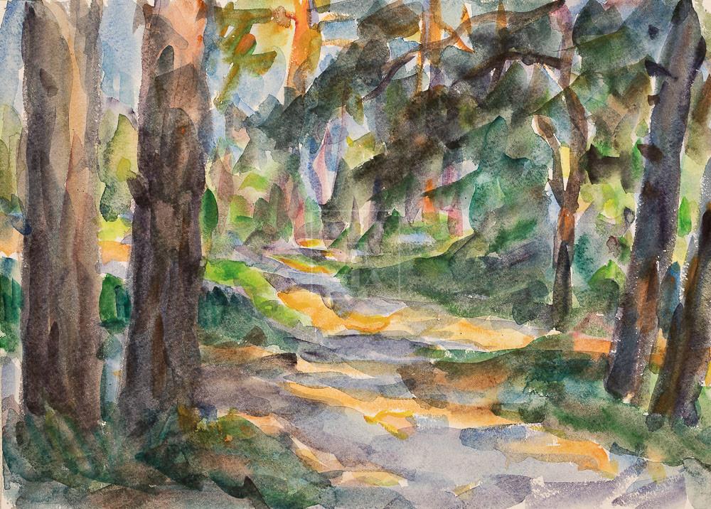 Картина. Пейзаж. Тени в лесу