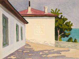 Картина. Пейзаж. Дом на берегу моря