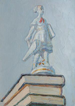 Картина. Натюрморт со статуэткой пионерки на книгах
