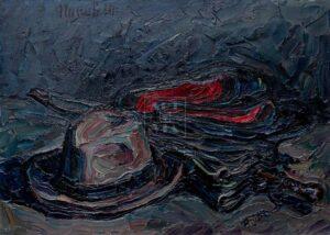 Картина. Натюрморт с калошами и зонтом