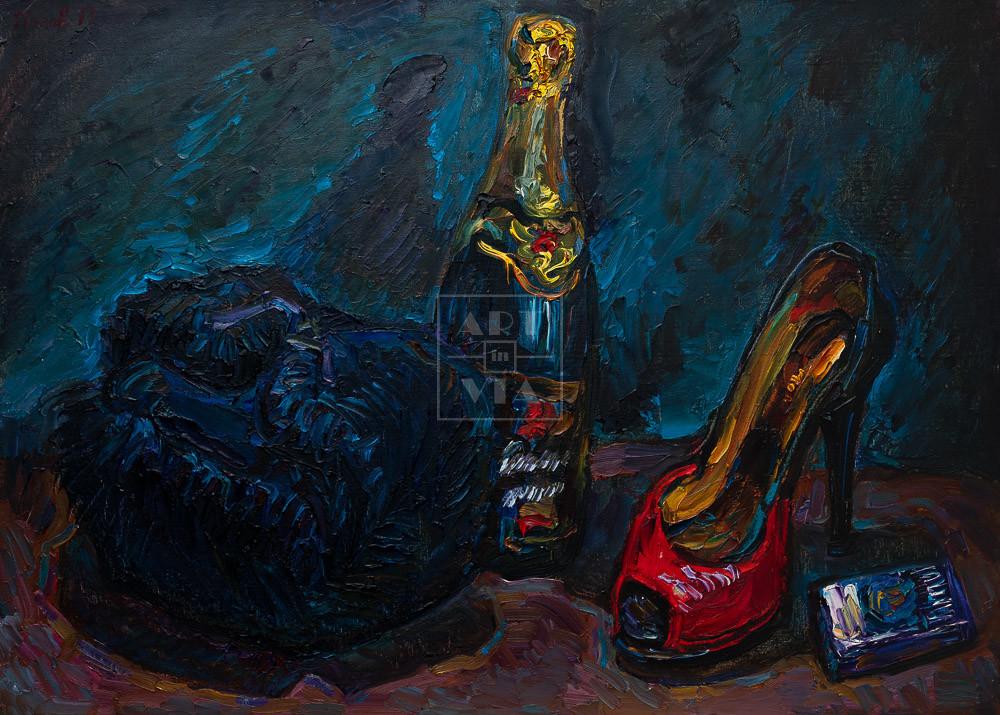 Картина. Натюрморт с шапкой и красной туфелькой