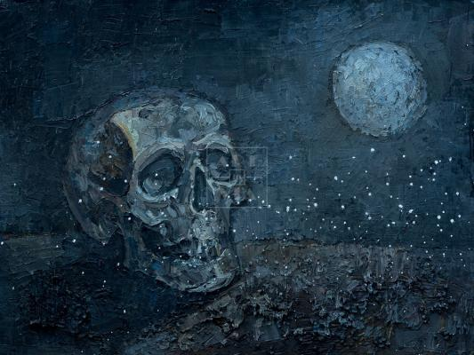 Картина. Ванитас. Череп и луна