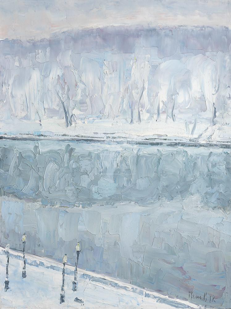 Картина. Москва. Пейзаж. Набережная реки в декабре