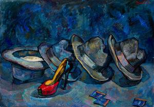 Картина. Натюрморт с красной туфелькой и шляпами