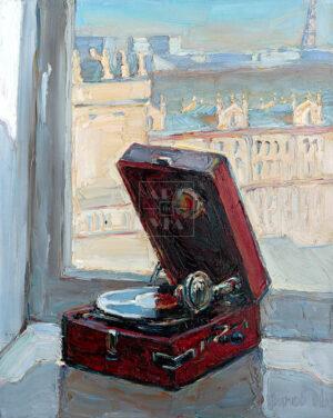 Картина. Натюрморт с красным патефоном