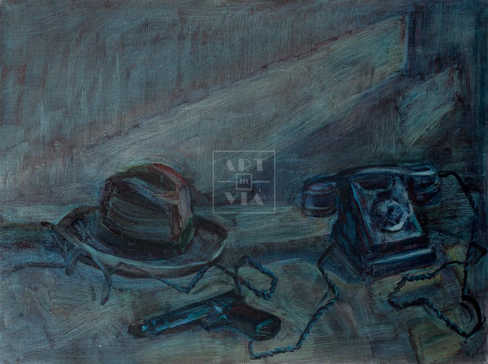 Картина. Натюрморт с телефоном и шляпой