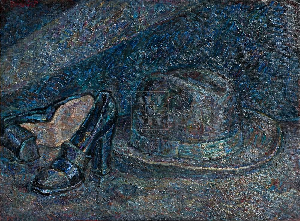 Картина. Натюрморт с туфлями и шляпой