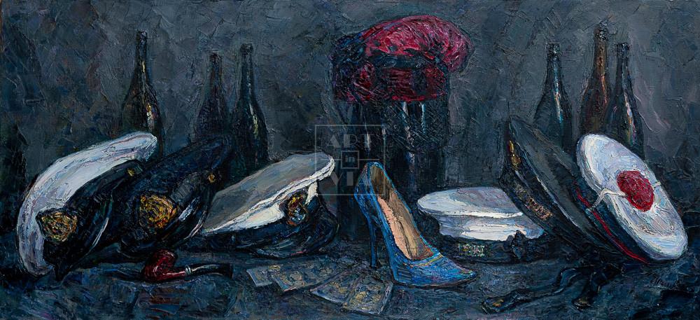 Картина. Натюрморт с фуражками и синей туфелькой