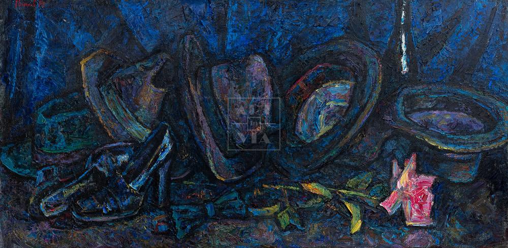 Картина. Натюрморт с розой и бабочкой