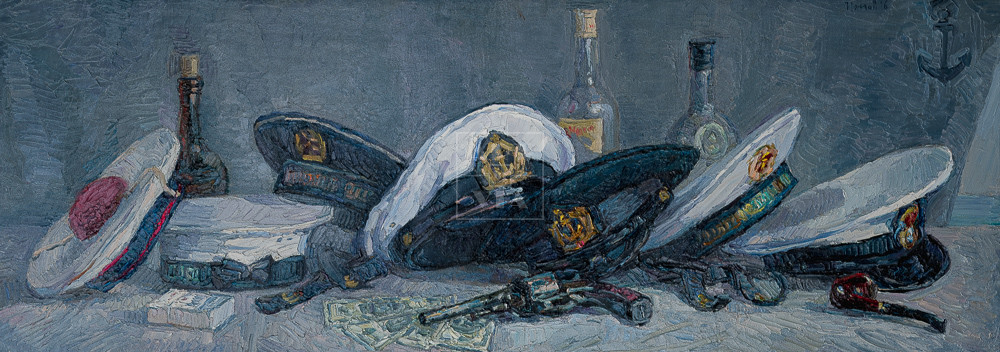 Картина. Натюрморт с фуражками и бутылками
