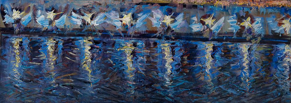 Картина. Москва. Пейзаж. Огни фонарей на набережной