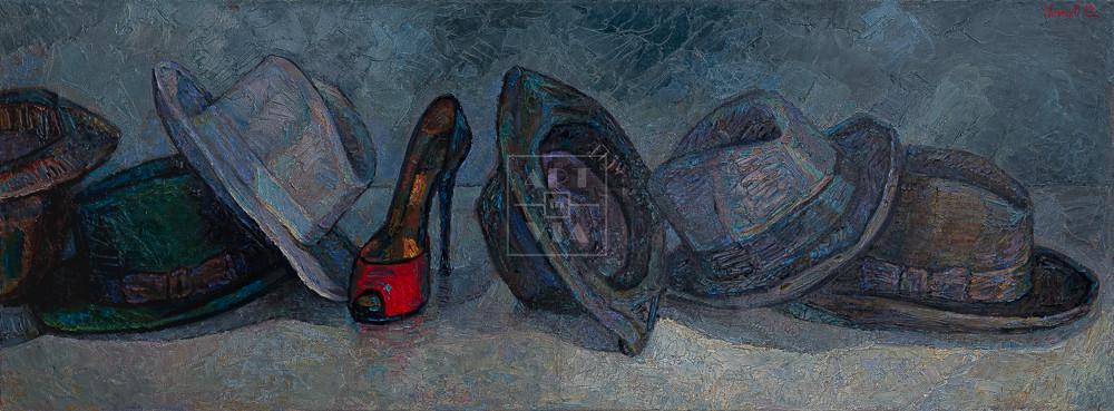 Картина. Натюрморт с туфелькой и шляпами