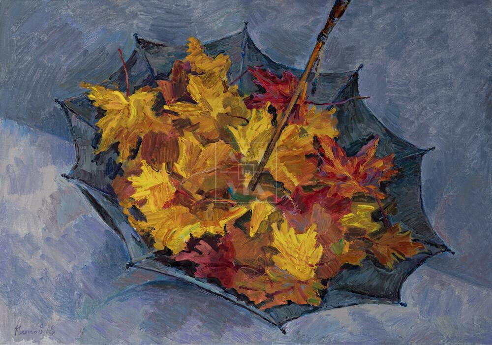 Картина. Натюрморт. Листья Нескучного сада