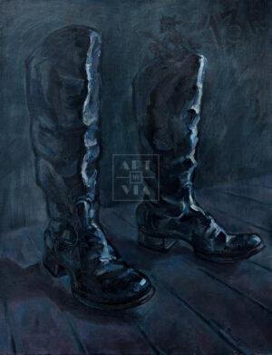 Картина. Натюрморт с черными сапогами