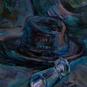 Фрагмент картины. Натюрморт с трубой и рюмкой