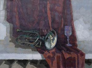 Картина. № 6. Натюрморт с трубой и бокалом
