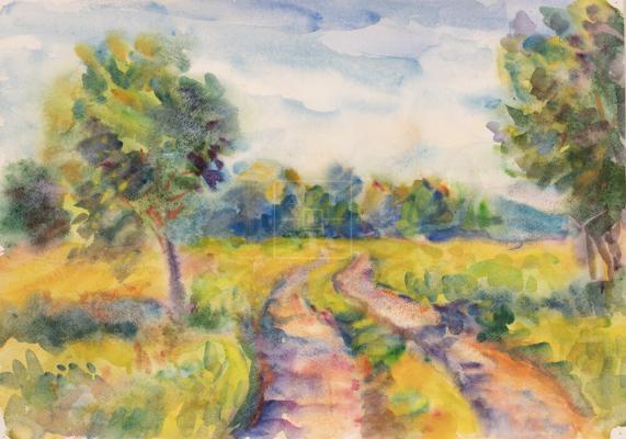 Картина. Пейзаж. Сельская дорога