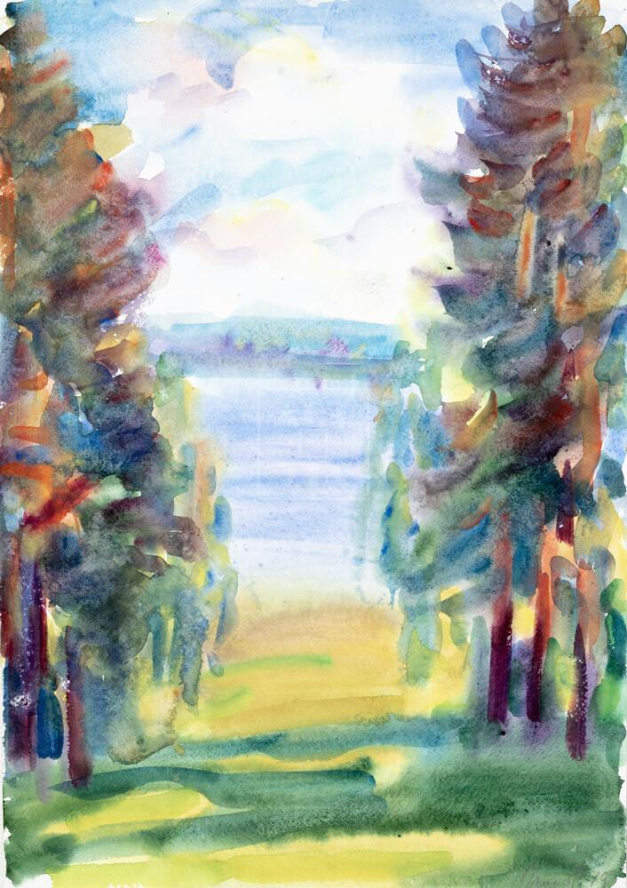 Картина. Пейзаж. Кинешма. Вид на реку