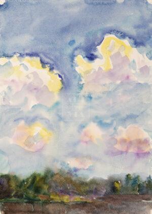 Картина. Пейзаж. Облака. Деревня Деулино