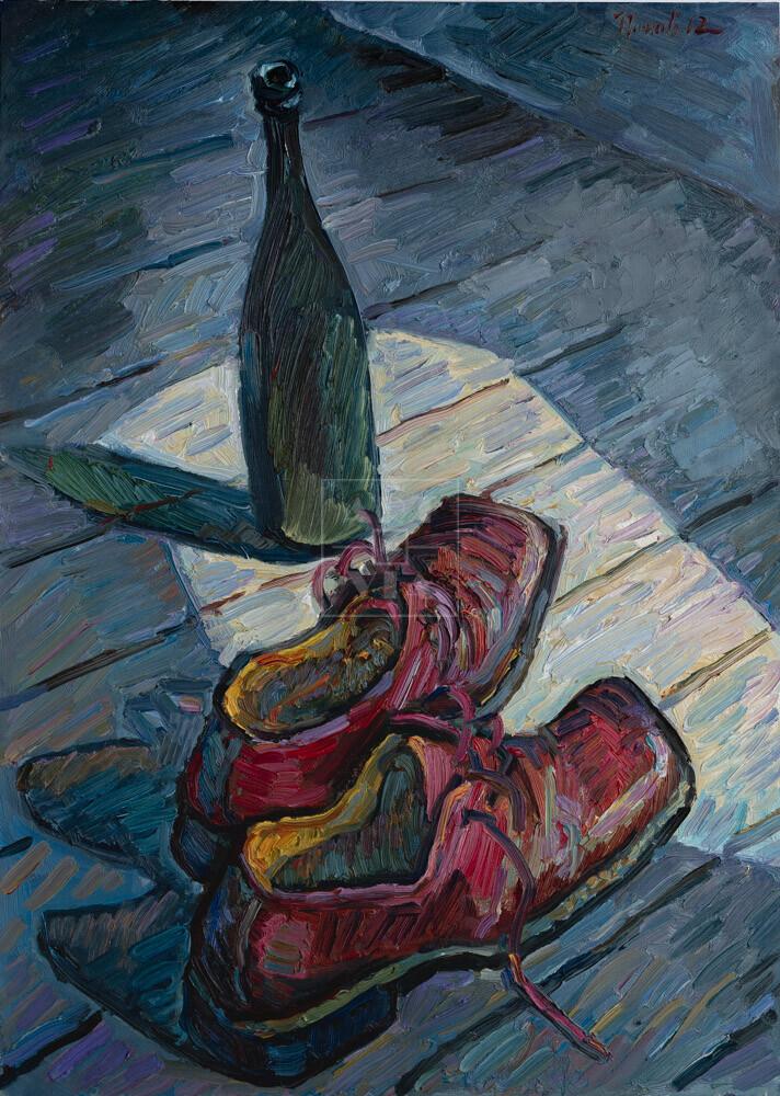 Картина. Натюрморт с бутылкой и ботинками