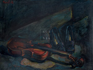 Картина. Натюрморт. Туфли и старая скрипка