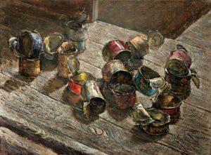 Картина. Натюрморт. Пустые банки на деревянном полу