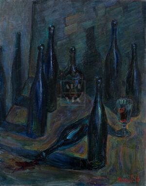 Картина. Натюрморт с бутылками и рюмкой