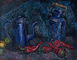 Картина. Натюрморт. Чайник и красные перцы