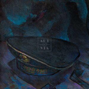 Фрагмент картины 1/3. Натюрморт с бескозыркой военно-морского флота