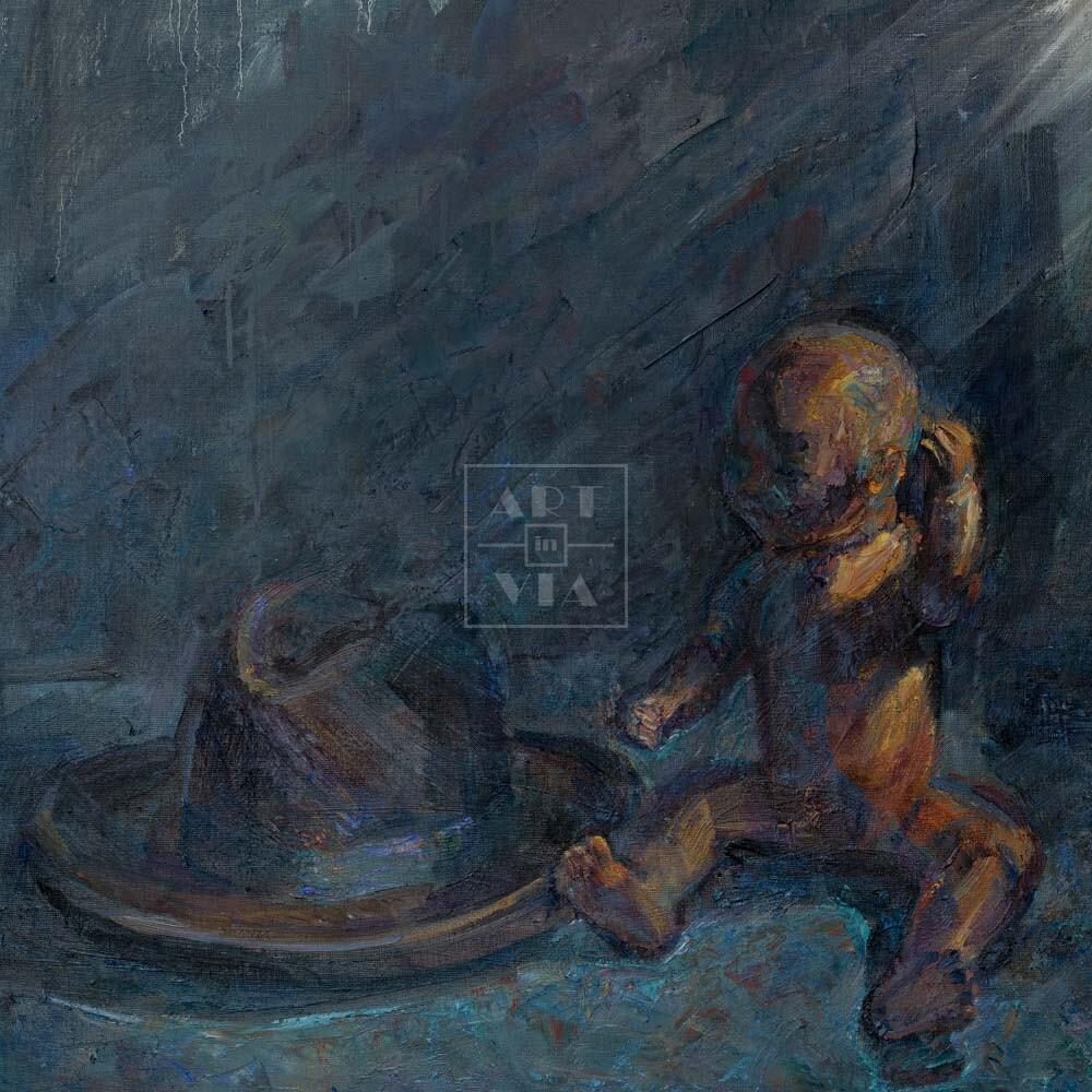 Фрагмент картины 1/3. Натюрморт с куклой и шляпой
